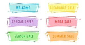 Special offer sale Flat Linear banner for your promotion design. Discount clearance event festival , illustration vector , price tag sticker badge poster Royalty Free Stock Photo