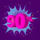Special offer sale neon color tag. This is the concept of the price list for discounts, of an advertising campaign, advertising marketing sales, a 90 off Royalty Free Stock Images