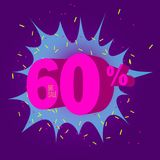Special offer sale neon color tag. This is the concept of the price list for discounts, of an advertising campaign, advertising marketing sales, a 60 off royalty free illustration