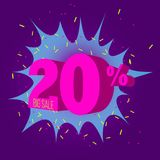 Special offer sale neon color tag. This is the concept of the price list for discounts, of an advertising campaign, advertising marketing sales, a 20 off stock illustration