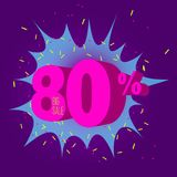 Special offer sale neon color tag. This is the concept of the price list for discounts, of an advertising campaign, advertising marketing sales, a 80 off Stock Illustration