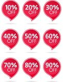 Sale red label collection. Special offer sale red tag isolated  illustration. Discount offer price label, symbol for advertising campaign in retail, sale promo Stock Photography