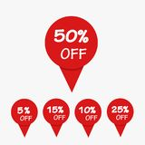 Special offer sale red tag isolated vector illustration. Discoun. T offer price label, symbol for advertising campaign in retail, sale promo marketing, 50% off Stock Photo