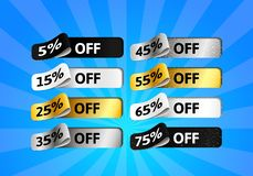 Special Offer Sale Set. Gold, Silver, black and White Shiny Labels with Percentage. Template Design of 3d Stickers