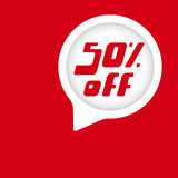 Special offer sale sticker. 50 percent off discount red background. Special offer sale sticker. Vector Illustration Royalty Free Stock Photos