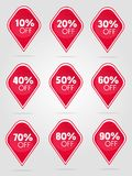 Special offer sale stickers collection. Special offer sale red tag isolated illustration. Discount offer price label, symbol for advertising campaign in retail stock illustration