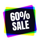 Special offer sale tag. Discount symbol retail. Colorful sticker sign price isolated from white background. Label in. Special offer sale tag. 60 percent discount vector illustration