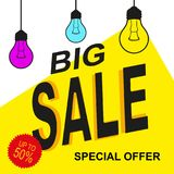 Special offer sale tag yellow design. With lamps Royalty Free Stock Image