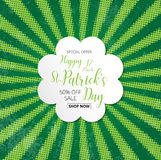 Special offer sale text  badge with green  clover leaves halfton Stock Images
