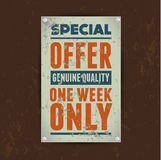 Special offer Sale vintage metal tin Royalty Free Stock Photo