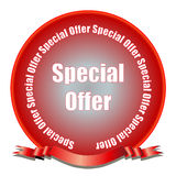 Special Offer Seal. A red gradient seal with special offer and ribbon. Fully scalable vector illustration Stock Photo
