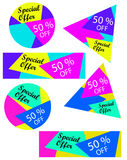 Special offer set. Abstract and colorful banners or labels. Special offer, 50 % off - Set Stock Photo