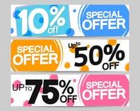 Special Offer, set sale web banners design template, 10% 50% 75% off, vector illustration. Special Offer, set sale web banners design template, up to 10% 50% 75 stock illustration