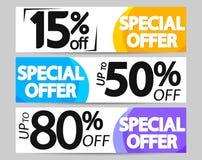 Special Offer, set sale web banners design template, 15% 50% 80% off, vector illustration. Special Offer, set sale web banners design template, up to 15% 50% 80 vector illustration