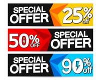 Special Offer, set sale web banners design template,  up to 25% 50% 90% off, vector illustration. Special Offer, set sale web banners design template, up to 25% stock illustration