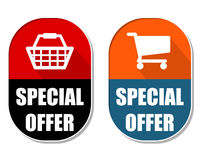 Special offer with shopping basket and cart signs, two elliptica Royalty Free Stock Image