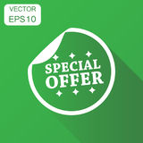 Special offer shopping icon. Business concept sale sticker picto. Gram. Vector illustration on green background with long shadow Stock Photography