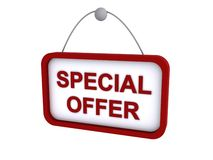 Special offer sign. Illustration of hanging red special offer sign isolated on white background Stock Photography