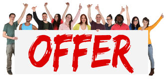Special offer sign group of young people sale while shopping Stock Images