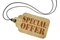 Special offer on a price tag. Special offer sign - shopping concept - an isolated paper price tag Stock Image