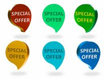 Special offer sign. Special offer 3d rendered sign , different Colors and angles Royalty Free Stock Photo