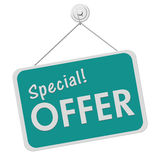 Special Offer Sign. A teal and white sign with the word Special Offer isolated on a white background, Special Offer Sign Stock Images