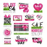 Special Offer Signs Set Template International Women Day Sale Badges Collection Promotion Sticker Isolated. Vector Illustration Stock Image