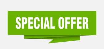 Special offer. Sign.  paper origami speech bubble.  tag.  banner stock illustration