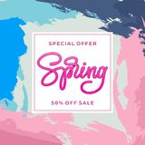 Special offer Spring 50 Off Sale. Template for banner, card, poster. Handmade typography. Vector illustration. Special offer Spring Sale. Template for banner Stock Photo