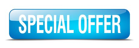 Special offer button. Special offer square 3d realistic isolated glass web button. special offer vector illustration