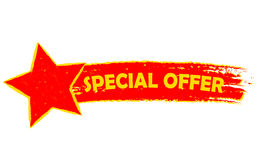 Special offer with star, yellow and red drawn banner. Special offer with star banner - text in yellow and red drawn label, business shopping concept Royalty Free Stock Images