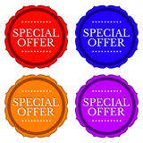 Special offer stickers in 4 colors isolated Royalty Free Stock Photo