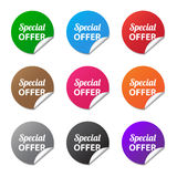 Special offer stickers. In various colors Stock Photos