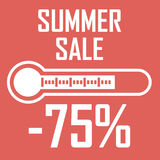 Special offer, summer discount in the form of a thermometer that shows seventy five percent. Summer Sale. Illustration royalty free illustration