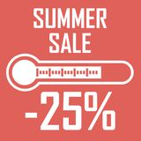 Special offer, summer discount on 25 percent in the form of a thermometer that shows sale. Summer Sale. Illustration of vector illustration