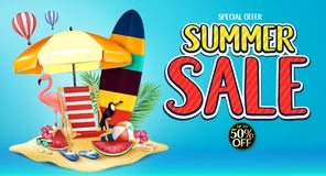 Special Offer Summer Sale Banner Advertisement in Blue Background with Realistic Toucan, Flamingo. Watermelon, Surf Board, Beach Ball, Sunglasses, Flowers royalty free illustration