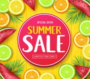 Special Offer Summer Sale in Circle Tag Poster with Tropical Fruits Such as Orange, Lime, Lemon and Watermelon. In Yellow Wood Background with Palm Tree Leaves Royalty Free Stock Image