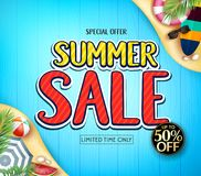 Special Offer Summer Sale Limited Time Only Ad Poster for Summer Season with Surfboard, Watermelon, Umbrella, Beach Ball Stock Photo