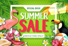 Special Offer Summer Sale Limited Time Only Advertisement Inside the White Frame. With Flamingo and Toucan in Yellow Green Patterned Background with Tropical royalty free illustration