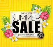 Special Offer Summer Sale for Limited Time Only Promotional Vector Illustration Design. With Flowers and Tropical Leaves in Yellow Background with Pattern royalty free illustration