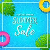 Special Offer Summer Sale with Pool Background. With Summer Scene and Tropical Leaves vector illustration
