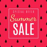Special Offer for Summer Sales Flat Advertisement. Great Seasonal Discount. Vector Red Space with Black Raindrops as Decoration. Promotion Illustration stock illustration
