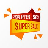 Special offer super sale discount up to 50 percentage off promotion marketing. With red and yellow sticker. card, banner, business advertising. Vector stock illustration