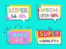 Special Offer Super Sale Set High Quality Labels. Special offer super sale set of high quality labels vector illustrations collection isolated on blue. Tags in stock illustration