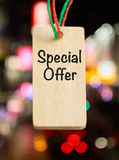 Special offer tag. On blurry light background Royalty Free Stock Images
