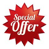 Special offer tag. Red sticker. Icon for sale. Royalty Free Stock Photos
