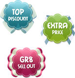 Special offer tags. Three special emblems encourage to meet Royalty Free Stock Photo