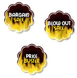 Special offer tags. Three special burning emblems Royalty Free Stock Images