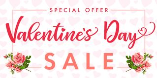 Valentines Day, rose flower and red heart Sale banner. Special offer template with text Valentine`s Day Sale on frame rose flower and red hearts background Stock Images