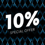Special offer ten percent text banner on musical dark background. Vector. Special offer ten percent text banner on musical dark background. Vector illustration Stock Photos